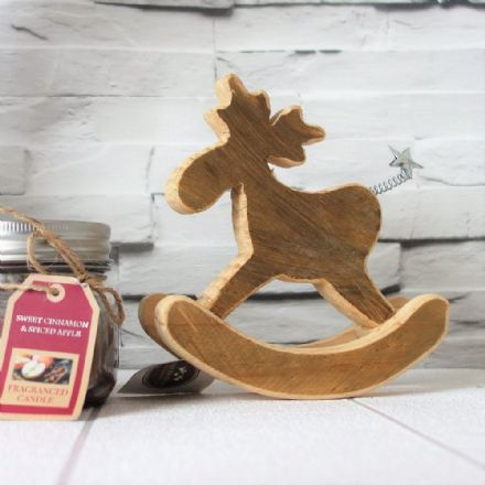 50% OFF Natural wood rocking moose with star tail